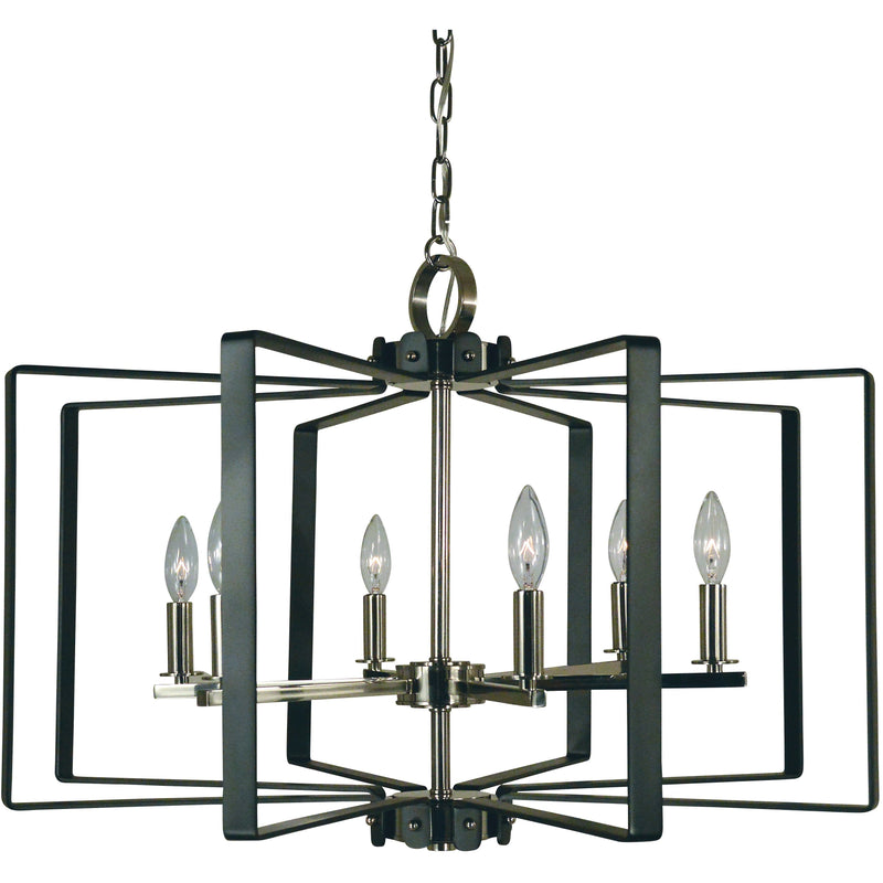 Framburg Chandeliers Polished Nickel with Matte Black Accents 6-Light Polished Nickel/Matte Black Camille Chandelier by Framburg 3055