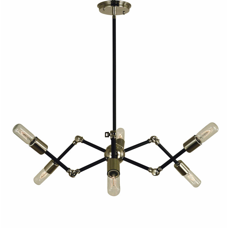 Framburg Chandeliers Polished Nickel with Matte Black 6-Light Polished Nickel/Matte Black Felix Chandelier by Framburg 4686