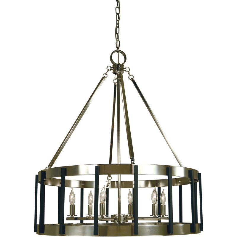 Framburg Chandeliers Polished Nickel with Matte Black 6-Light Polished Nickel/Matte Black Pantheon Pendant by Framburg 4668