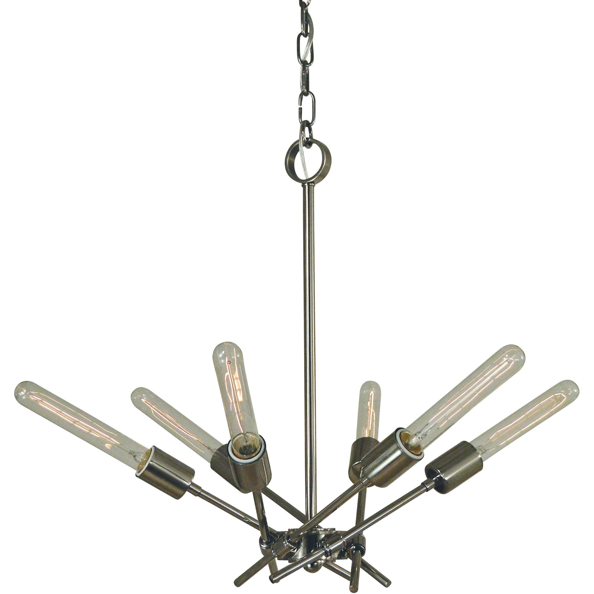 Framburg Chandeliers Polished Nickel 6-Light Polished Nickel Quasar Chandelier by Framburg 3076