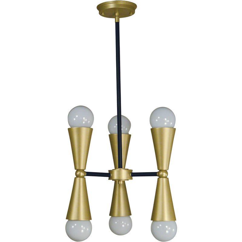 Framburg Mini Chandeliers Satin Brass with Matte Black Accents 6-Light Satin Brass/Matte Black Equinox Chandelier by Framburg 3033