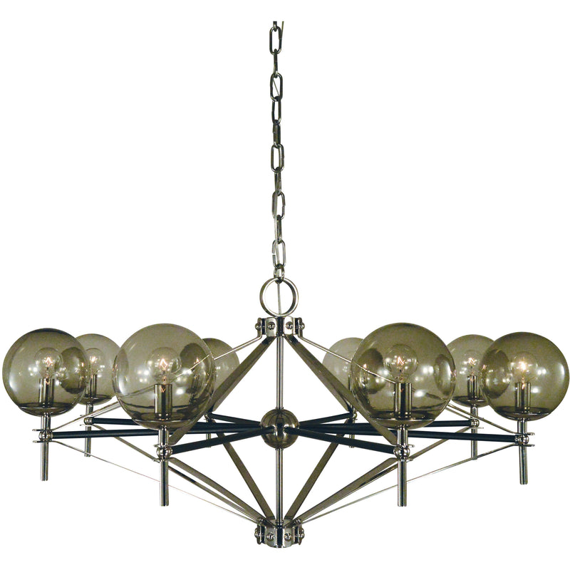 Framburg Chandeliers Polished Nickel with Matte Black Accents 8-Light Calista Dining Chandelier by Framburg 5068