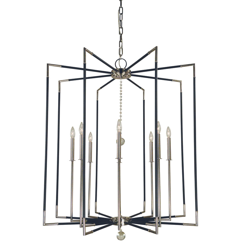 Framburg Foyer Chandeliers Polished Nickel with Matte Black Accents 8-Light Felicity Foyer Chandelier by Framburg 5048