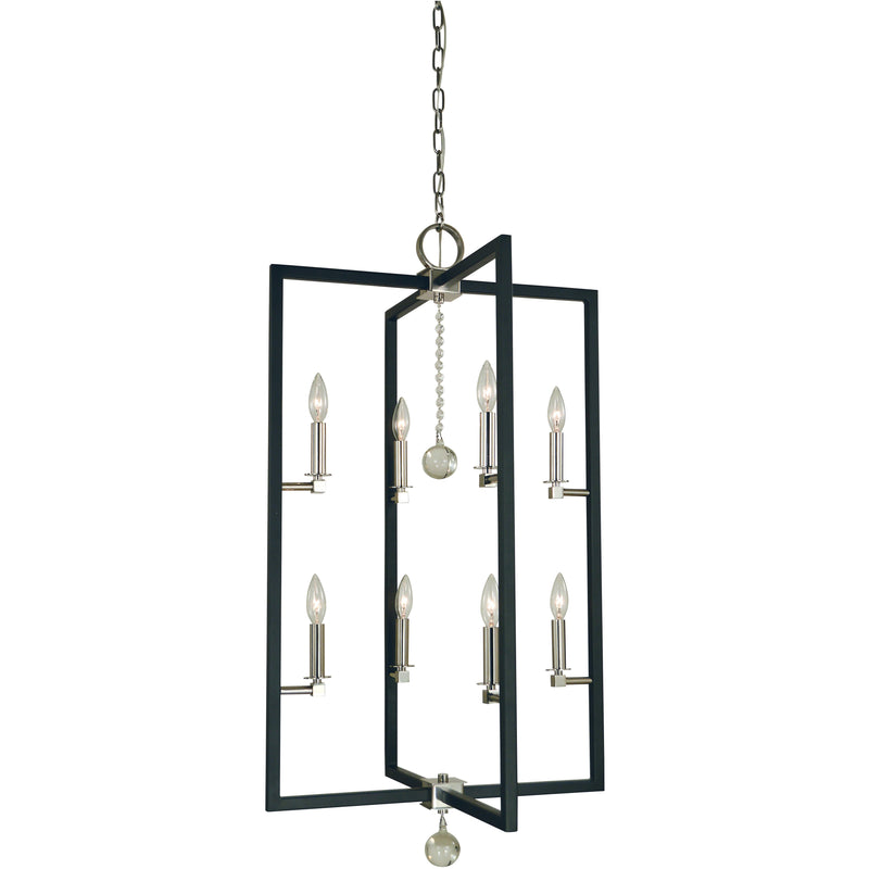 Framburg Foyer Chandeliers Polished Nickel/Matte Black 8-Light Polished Nickel/Matte Black Minimalist Elegant Foyer Chandelier by Framburg 5368