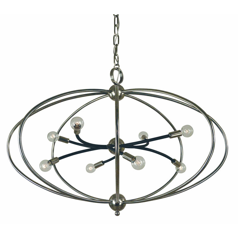 Framburg Chandeliers Polished Nickel with Matte Black Accents 8-Light Polished Nickel/Matte Black Orbit Chandelier by Framburg 4949