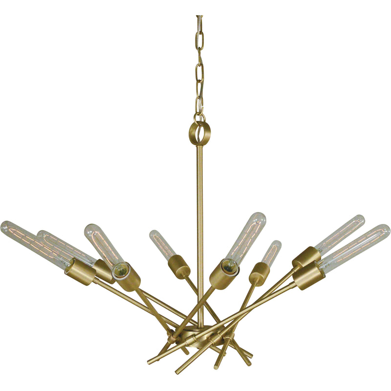 Framburg Chandeliers Satin Brass 8-Light Satin Brass Quasar Chandelier by Framburg 3078