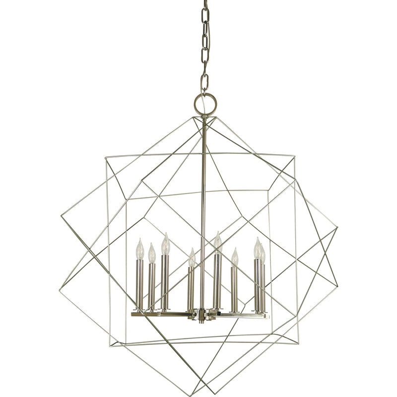Framburg Foyer Chandeliers Satin Pewter with Polished Nickel 8-Light Satin Pewter/Polished Nickel Etoile Chandelier by Framburg 4708