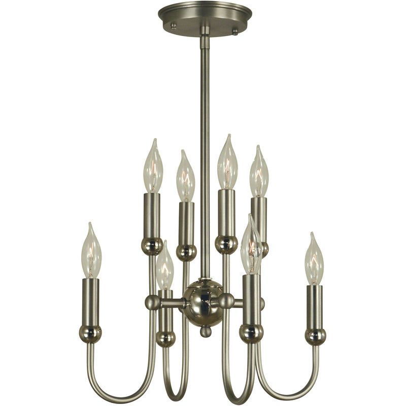 Framburg Mini Chandeliers Satin Pewter with Polished Nickel 8-Light Satin Pewter/Polished Nickel Nicole Chandelier by Framburg 4794