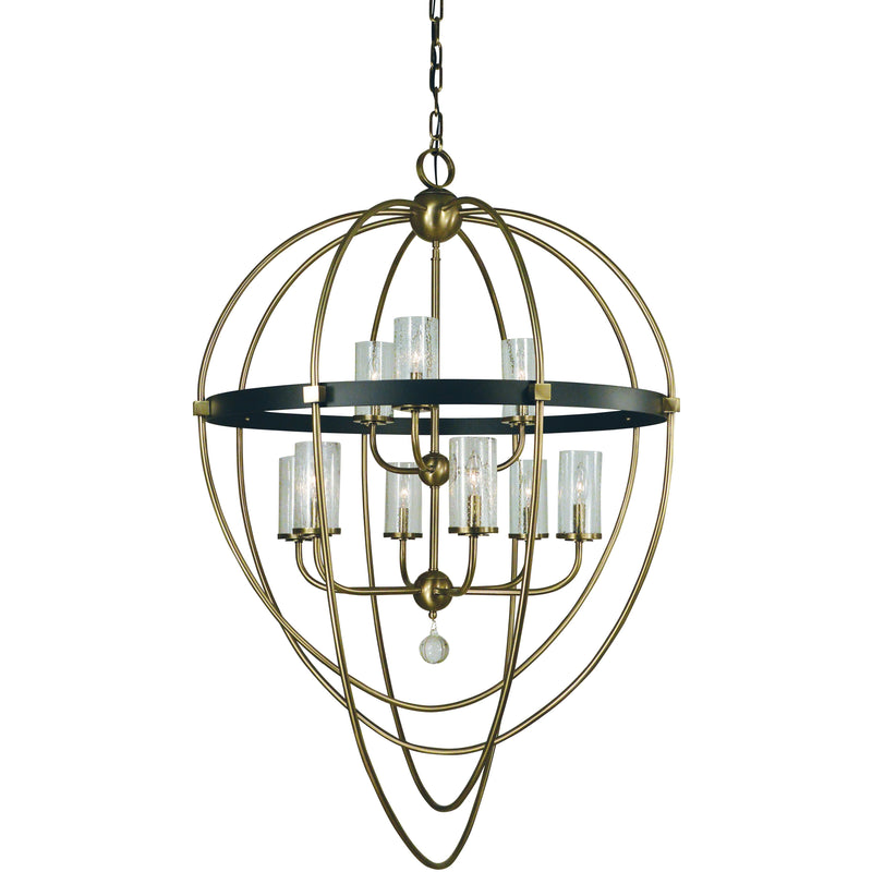 Framburg Foyer Chandeliers Antique Brass with Matte Black Accents 9-Light Antique Brass/Matte Black Margaux Chandelier by Framburg 3049