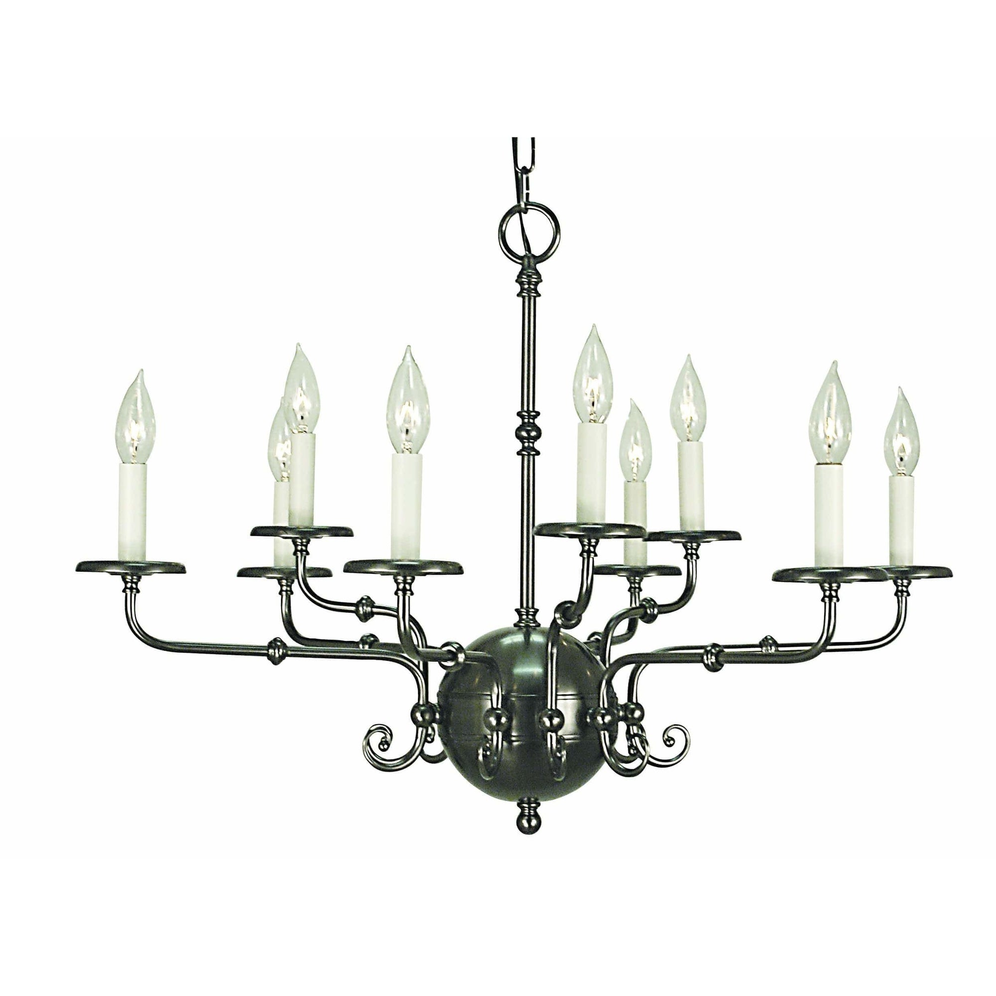 Framburg Chandeliers Antique Silver 9-Light Antique Silver Jamestown Dining Chandelier by Framburg 2379