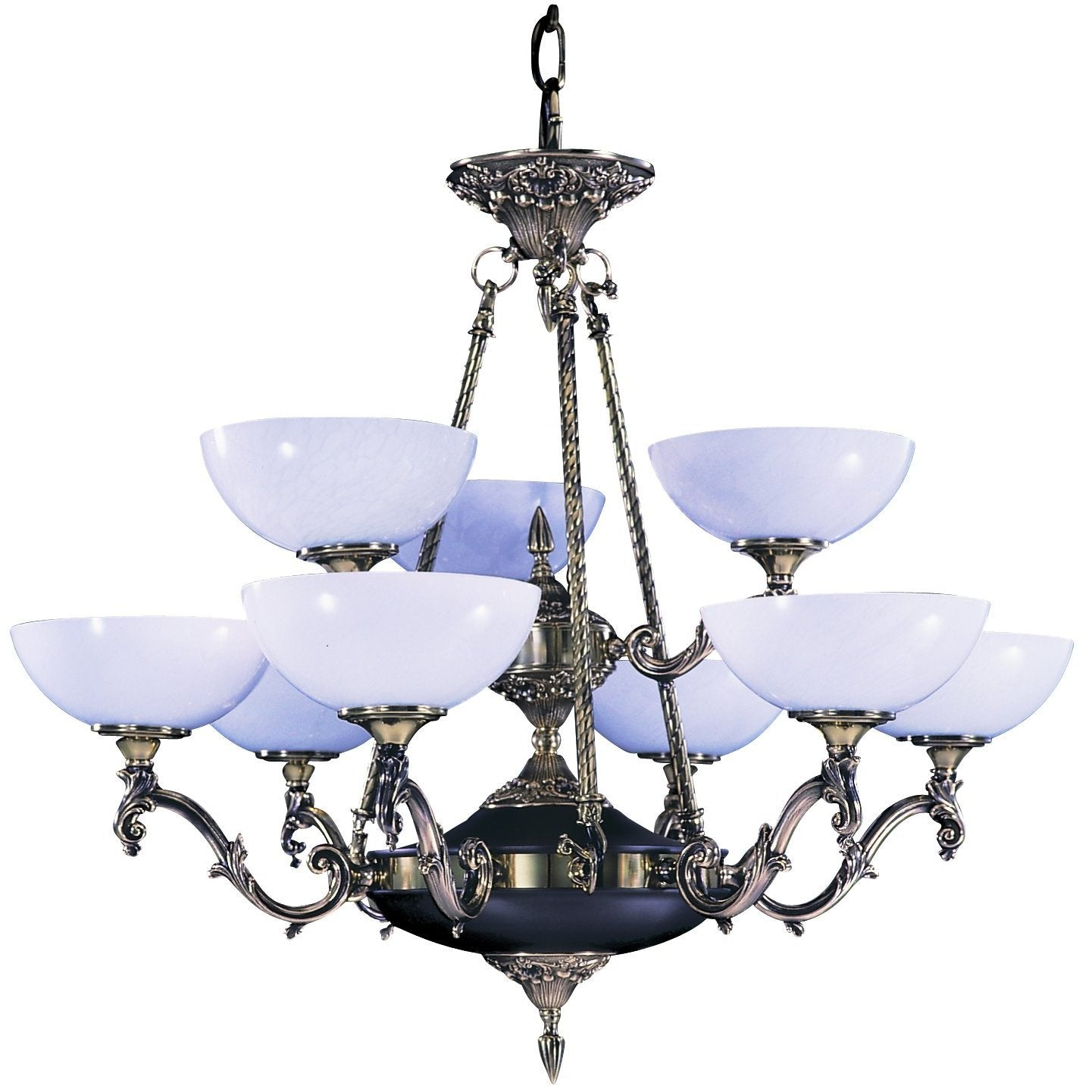 Framburg Chandeliers French Brass 9-Light French Brass Napoleonic Dining Chandelier by Framburg 8409