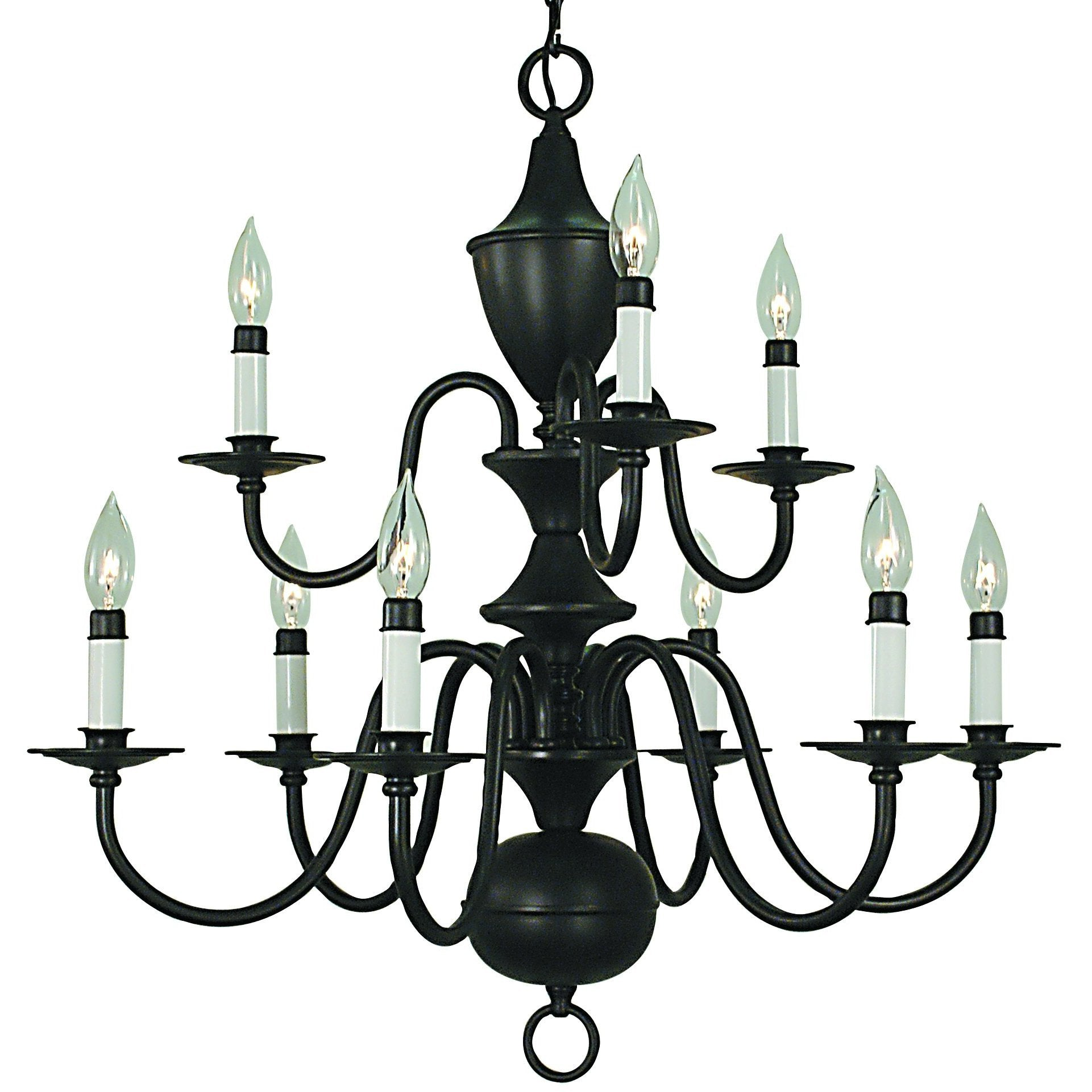 Framburg Chandeliers Matte Black 9-Light Matte Black Jamestown Dining Chandelier by Framburg 2529