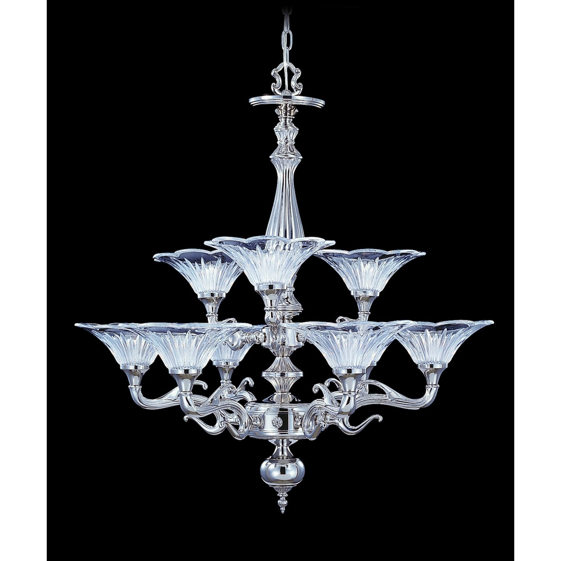 Framburg Chandeliers Polished Silver 9-Light Polished Silver Geneva Dining Chandelier by Framburg 8629