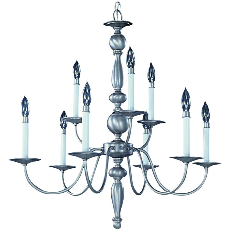 Framburg Chandeliers Satin Pewter 9-Light Satin Pewter Jamestown Dining Chandelier by Framburg 7919