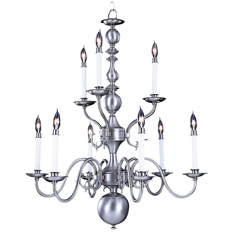 Framburg Chandeliers Satin Pewter 9-Light Satin Pewter Jamestown Dining Chandelier by Framburg 9129
