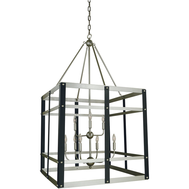 Framburg Foyer Chandeliers Satin Pewter/Matte Black 9-Light Satin Pewter/Matte Black Metro Artisan Foyer Chandelier by Framburg 5349