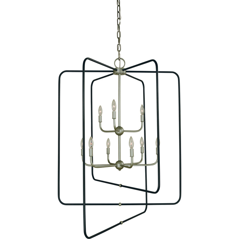 Framburg Chandeliers Satin Pewter With Matte Black 9-Light Satin Pewter With Matte Black Accents Montrose Foyer Chandelier by Framburg 5429