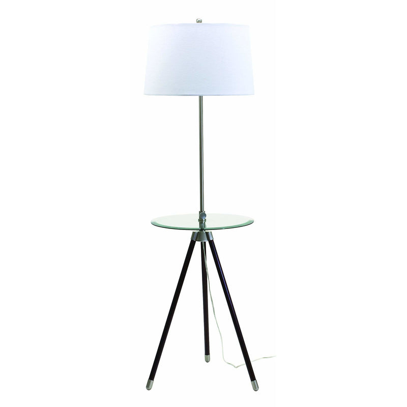 House Of Troy Floor Lamps Tripod Adjustable Floor Lamp with Glass Table by House Of Troy TR202-SN