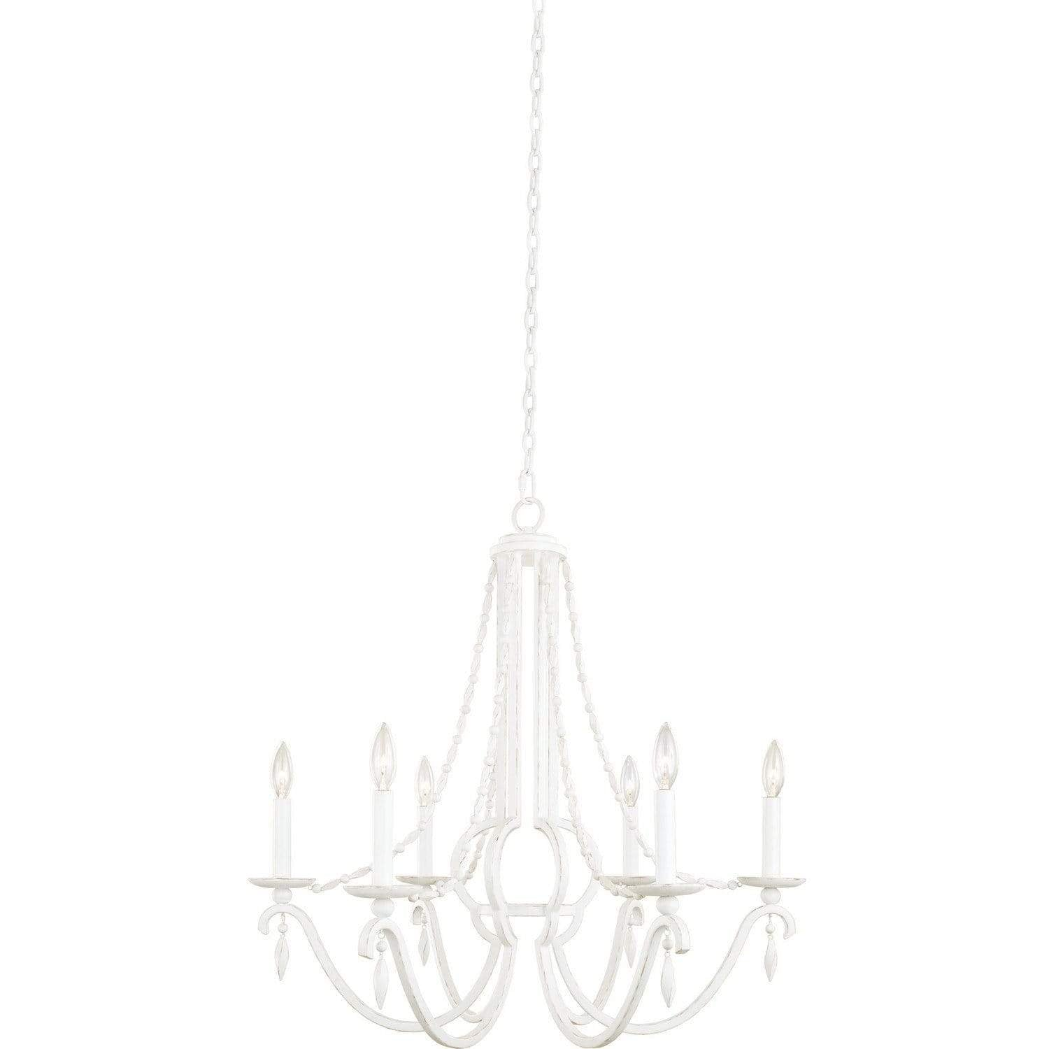 Kalco Lighting Chandeliers Distressed White Acadia 6 Light Chandelier By Kalco Lighting 507270
