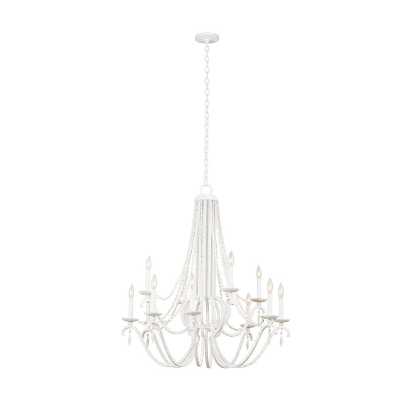 Kalco Lighting Chandeliers Distressed White Acadia (8+4) Light 2 Tier Chandelier By Kalco Lighting 507272