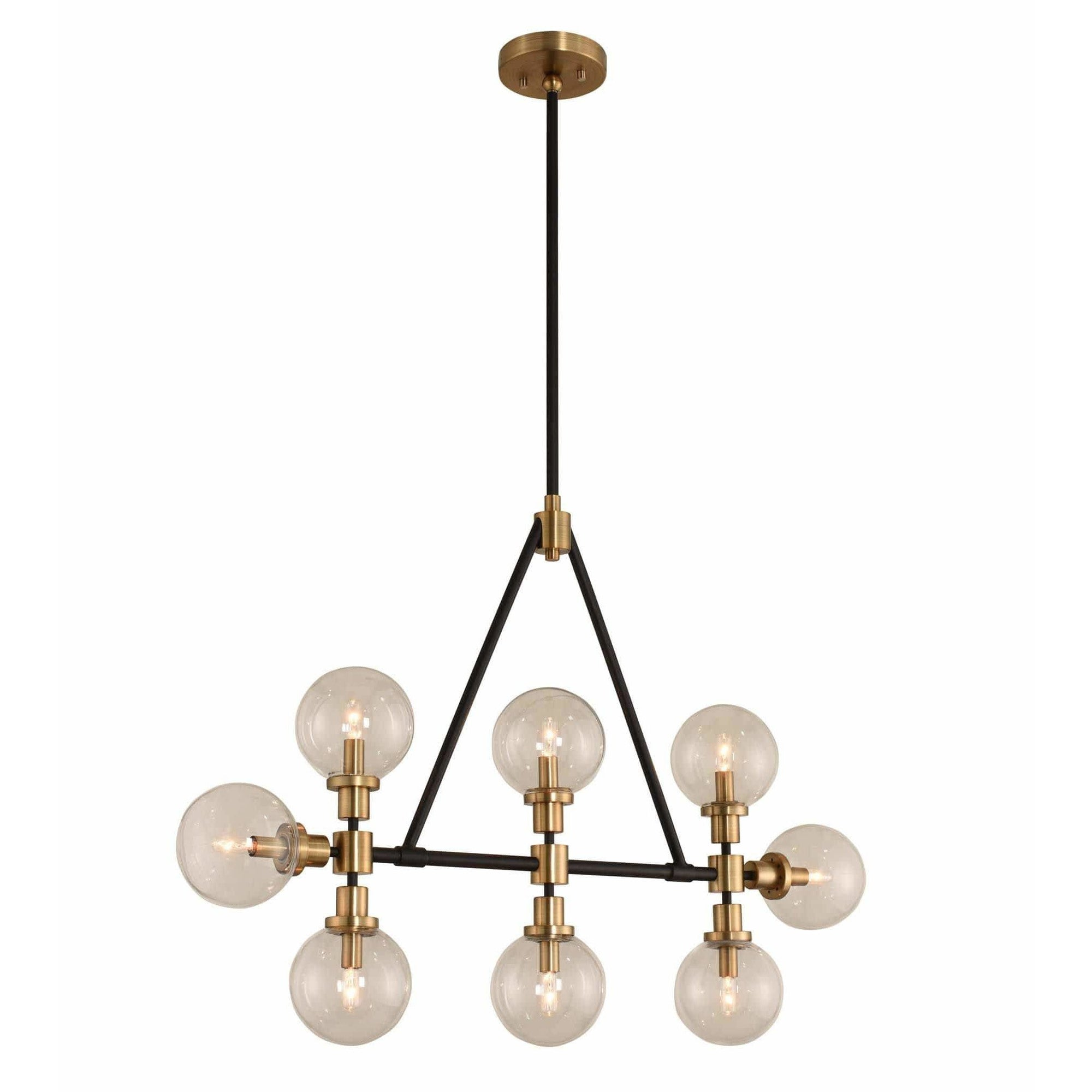 Kalco Lighting Island Lighting Matte Black Finish with Brushed Pearlized Brass Cameo 8 Light Island By Kalco Lighting 315453