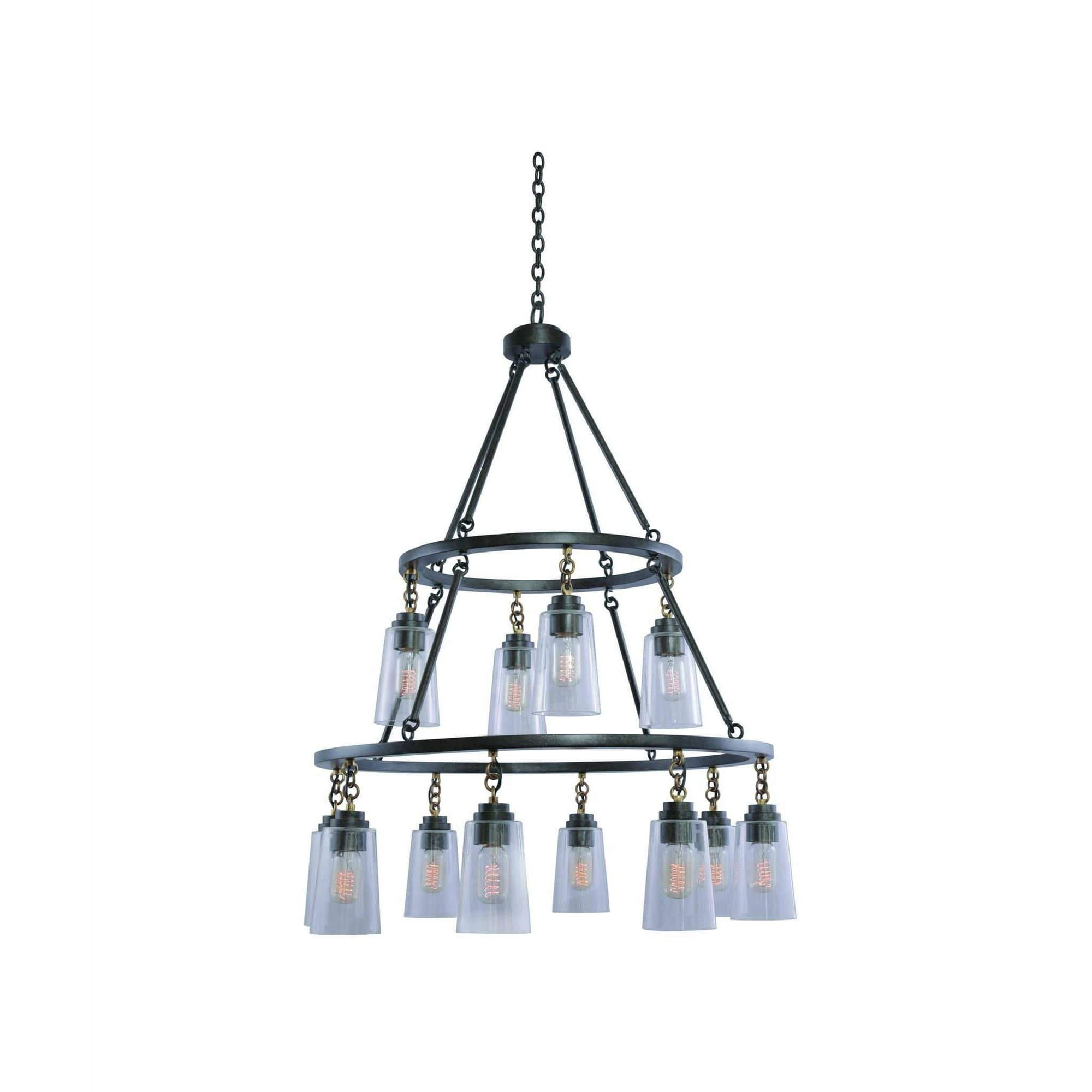 Kalco Lighting Pendants Milled Iron Dillon (8+4) Light 2 Tier Pendant By Kalco Lighting 504953