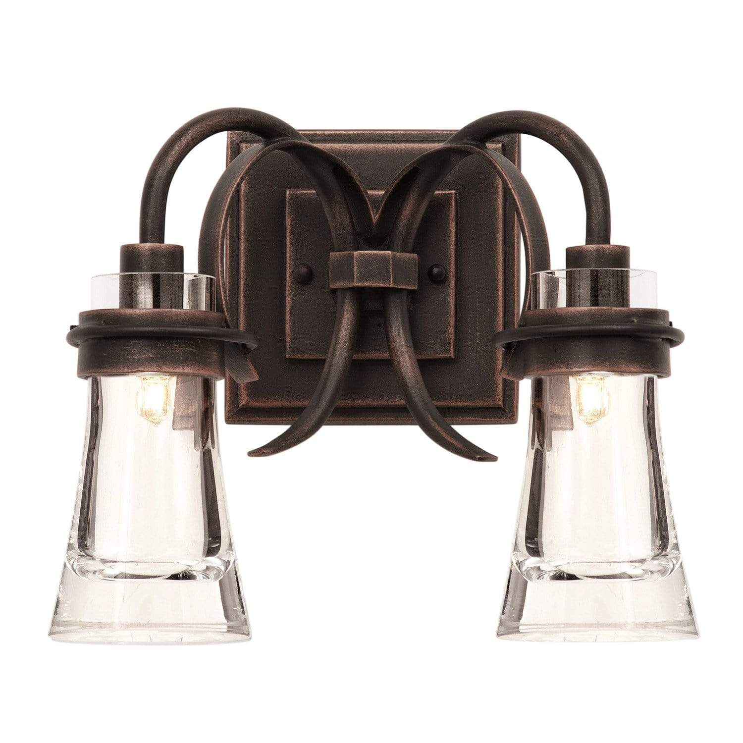 Kalco Lighting Wall Sconces Antique Copper Dover 2 Light Bath By Kalco Lighting 2912
