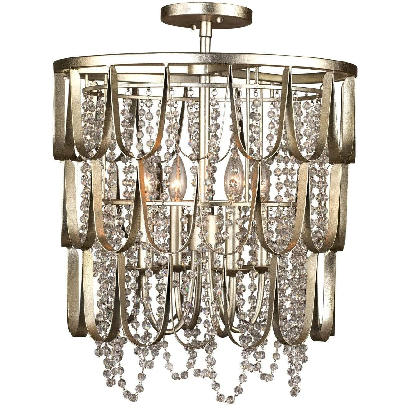Kalco Lighting Pendants Champagne Silver Leaf Dulce 18 Inch Convertible Pendant / Semi Flush By Kalco Lighting 508840