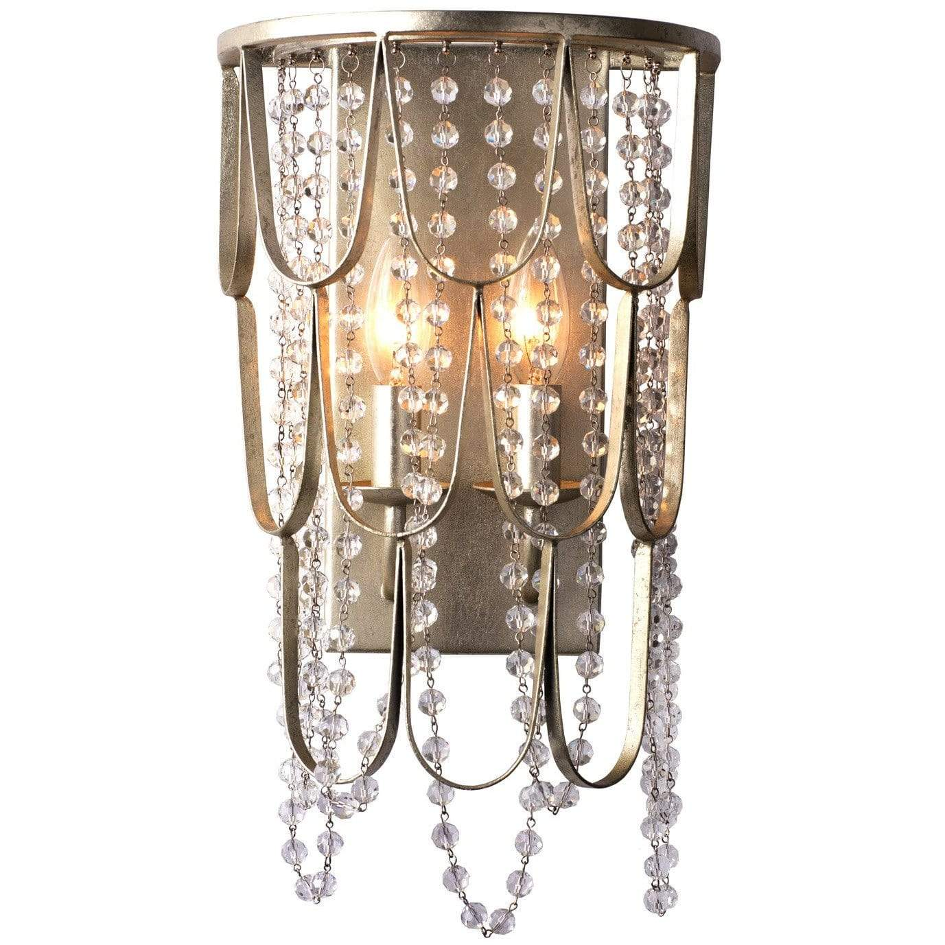 Kalco Lighting Wall Sconces Champagne Silver Leaf Dulce 2 Light Wall Sconce By Kalco Lighting 508820