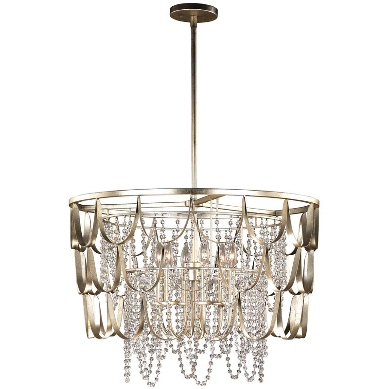 Kalco Lighting Pendants Champagne Silver Leaf Dulce 28 Inch Pendant By Kalco Lighting 508851