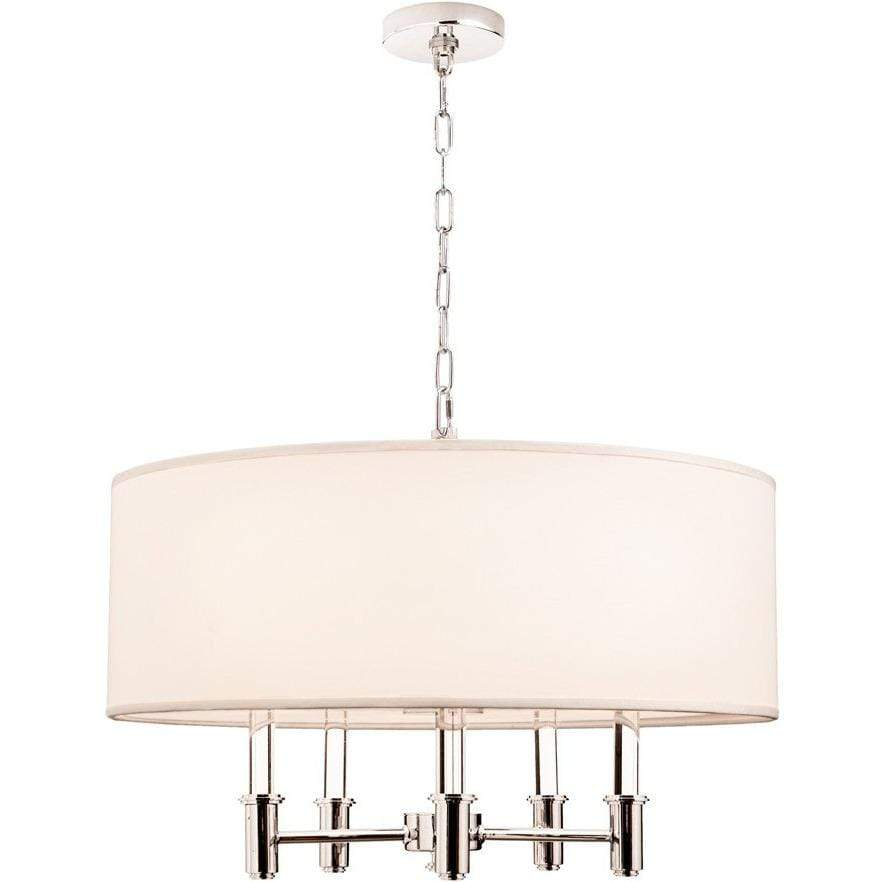 Kalco Lighting Pendants Chrome Dupont 5 Light Round Pendant By Kalco Lighting 500572