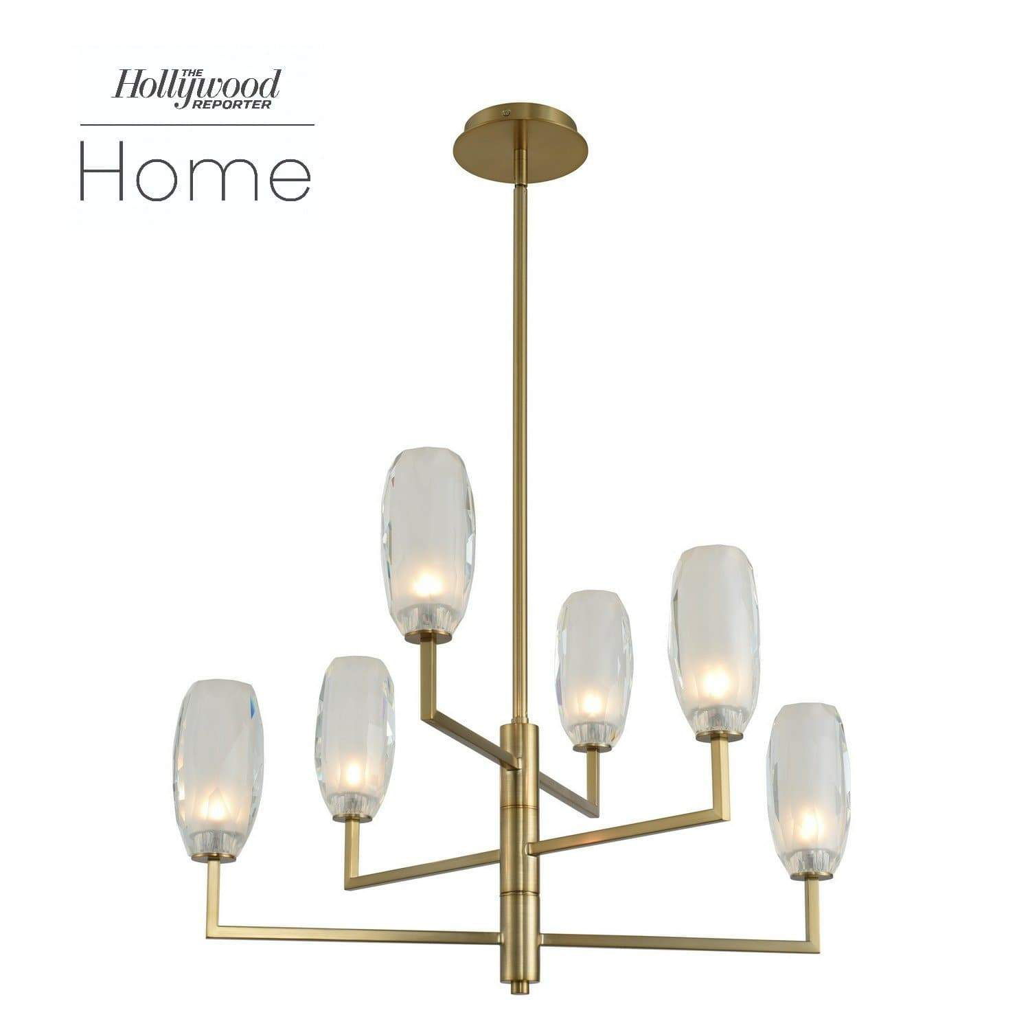 Kalco Lighting Chandeliers Winter Brass June 6 Light Chandelier By Kalco Lighting 511570