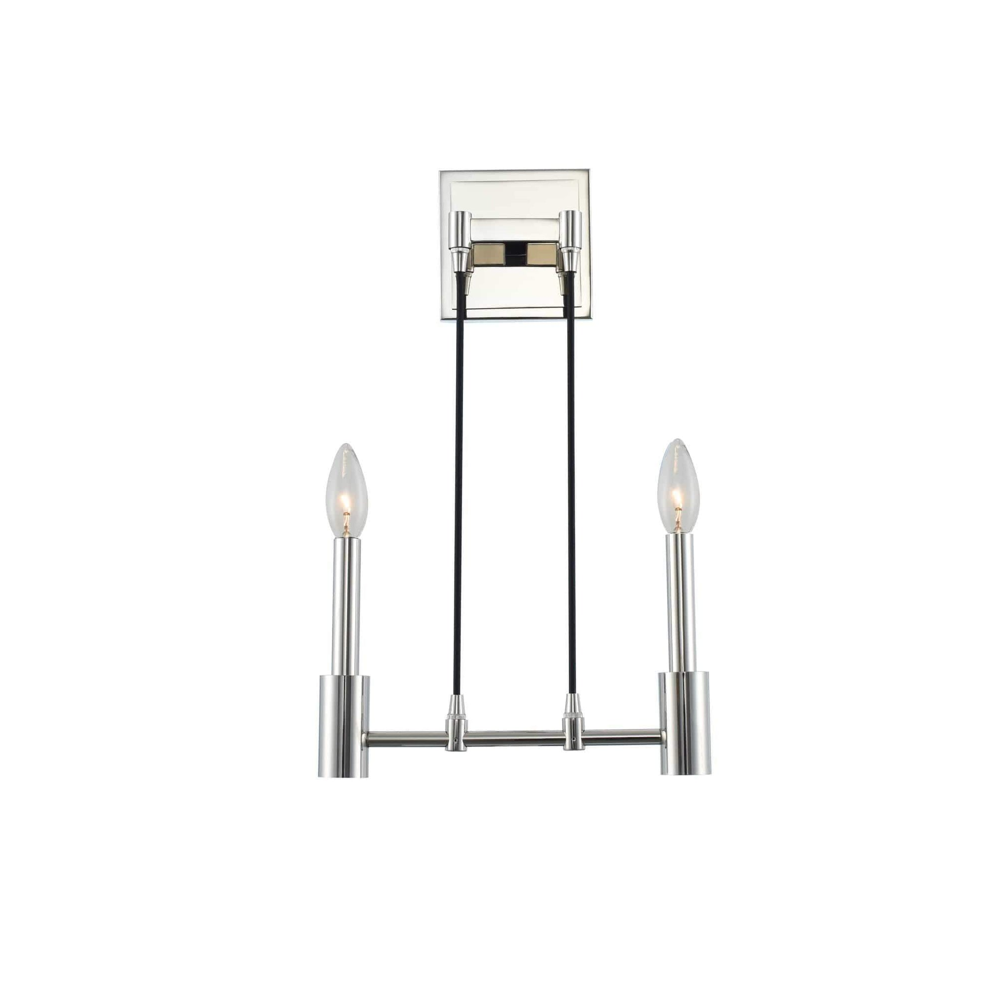 Kalco Lighting Wall Sconces Polished Nickel Kingston 2 Light Ada Wall Sconce By Kalco Lighting 509820