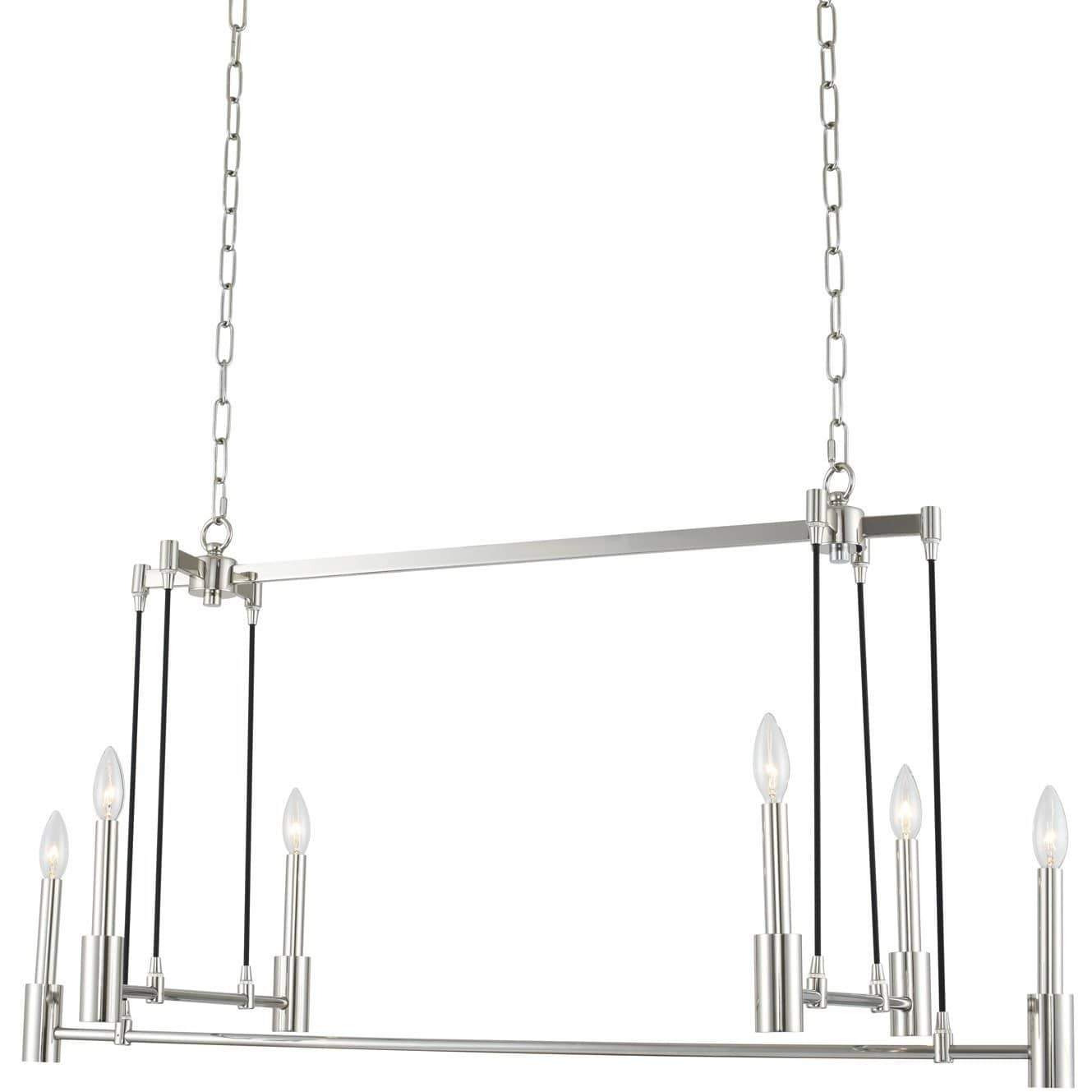 Kalco Lighting Island lighting Polished Nickel Kingston 6 Light Island By Kalco Lighting 509860