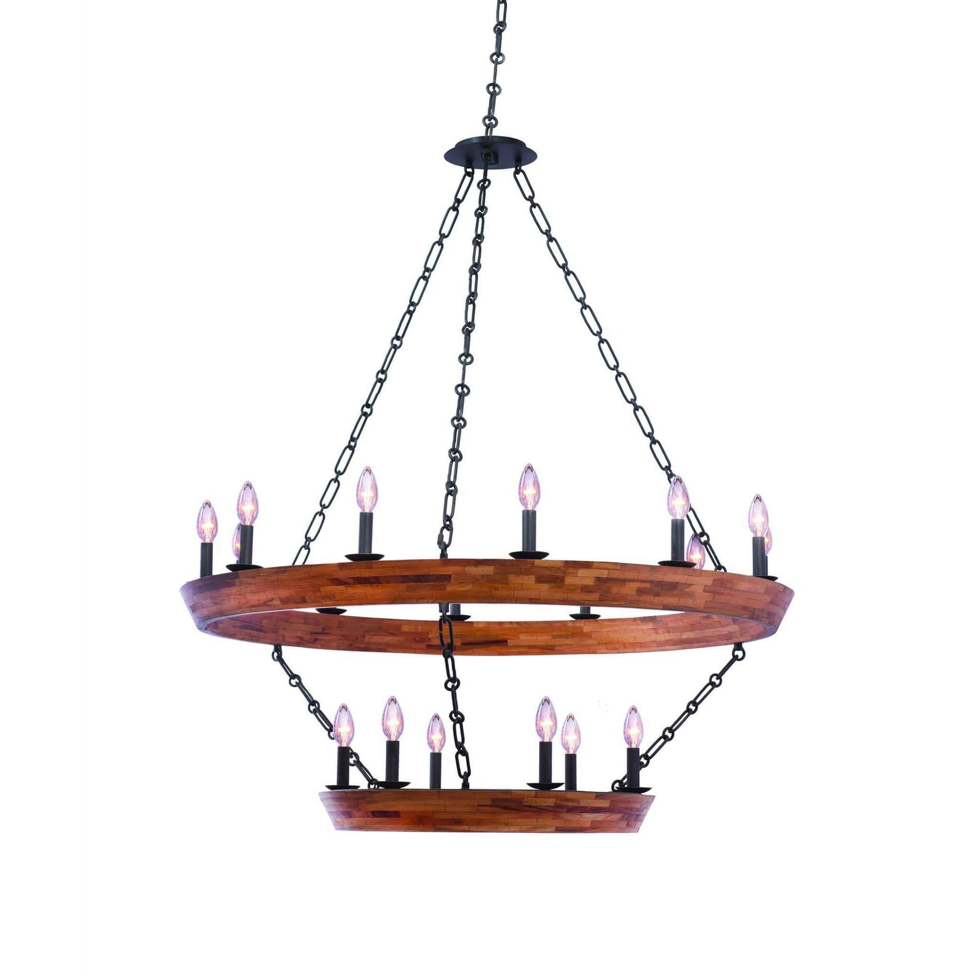 Kalco Lighting Chandeliers Black Iron Lansdale (12+6) Light 2 Tier Chandeleir By Kalco Lighting 505553