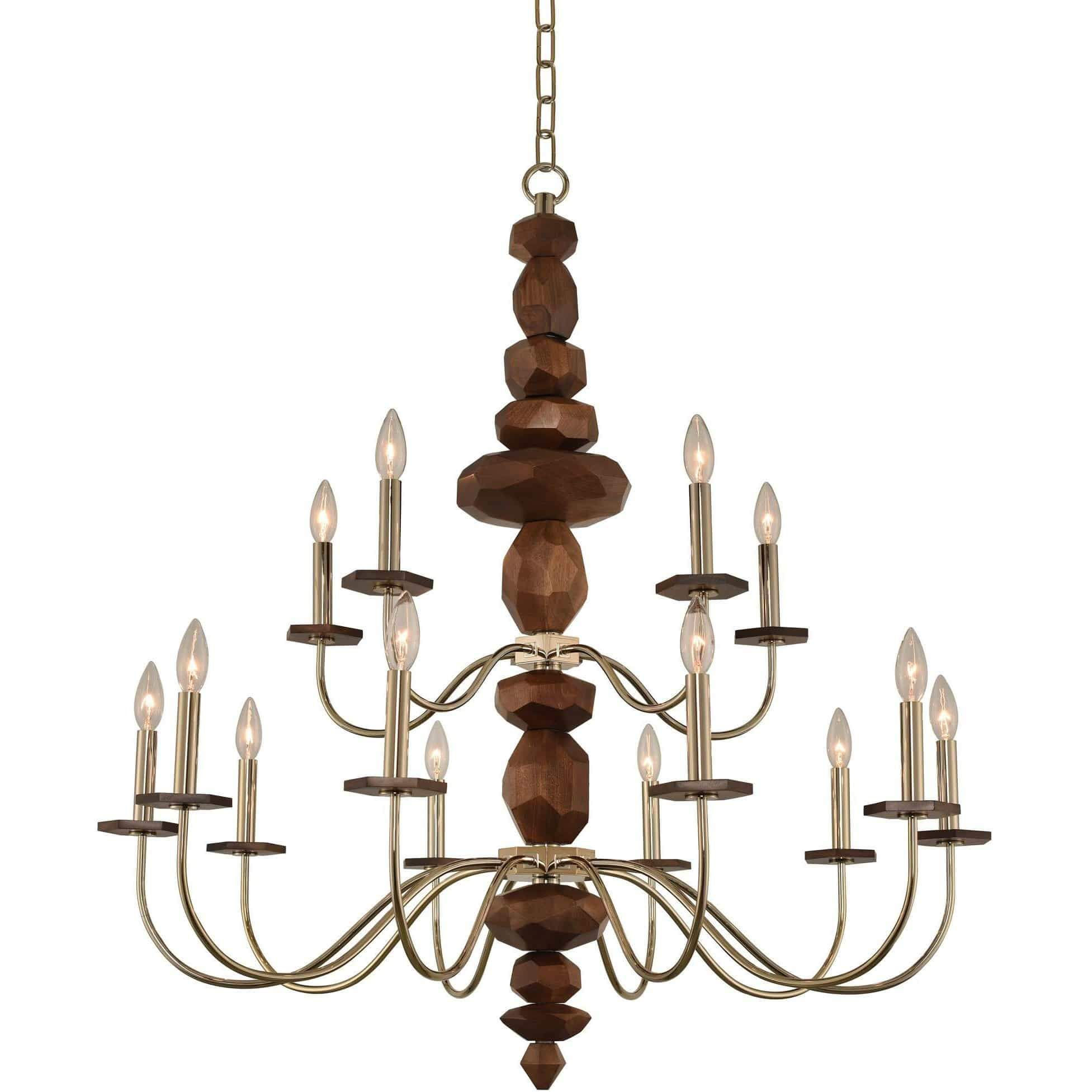 Kalco Lighting Chandeliers Champagne Gold Lassen (10+5) Light 2 Tier Chandelier By Kalco Lighting 304952