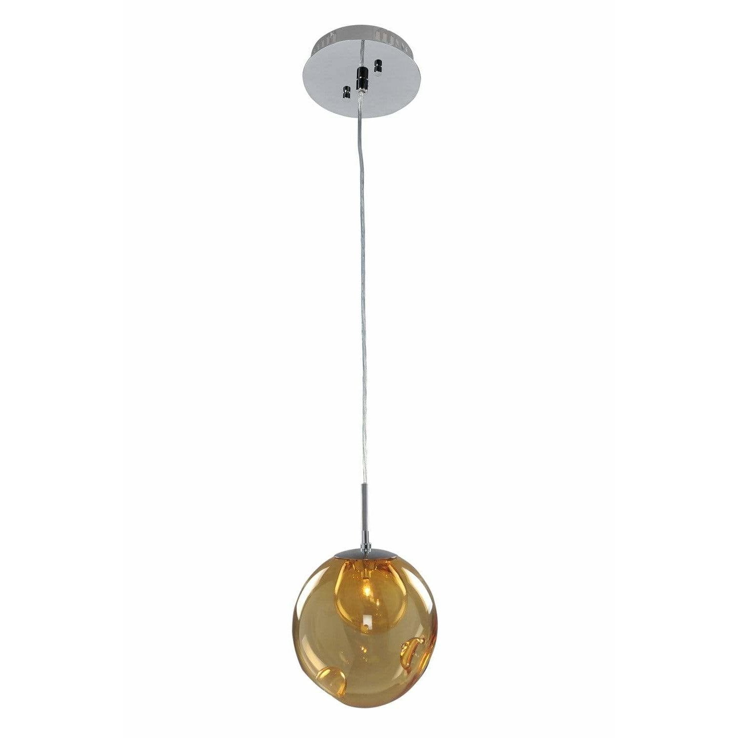 Kalco Lighting Mini Pendants Chrome / Faux Calcite Standard Amber Glass Meteor 1 Light Mini Pendant By Kalco Lighting 309510