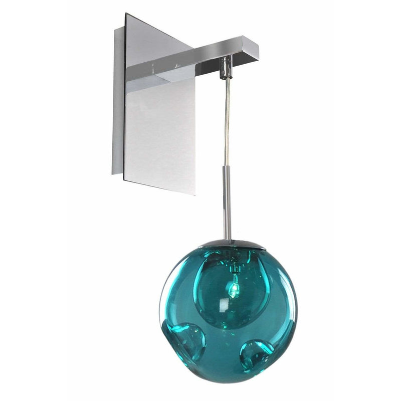 Kalco Lighting Wall Sconces Chrome / Faux Calcite Standard Amber Glass Meteor 1 Light Wall Bracket By Kalco Lighting 309520
