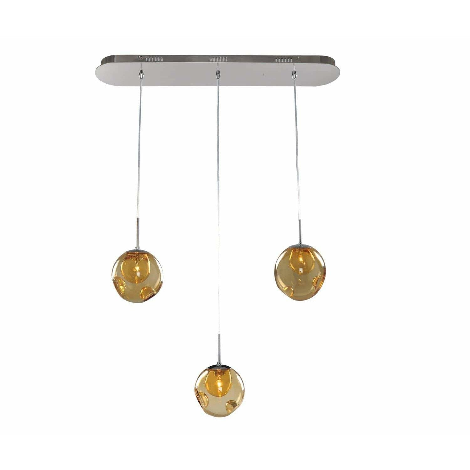 Kalco Lighting Island Lighting Chrome / Faux Calcite Standard Amber Glass Meteor 3 Light Island By Kalco Lighting 309542