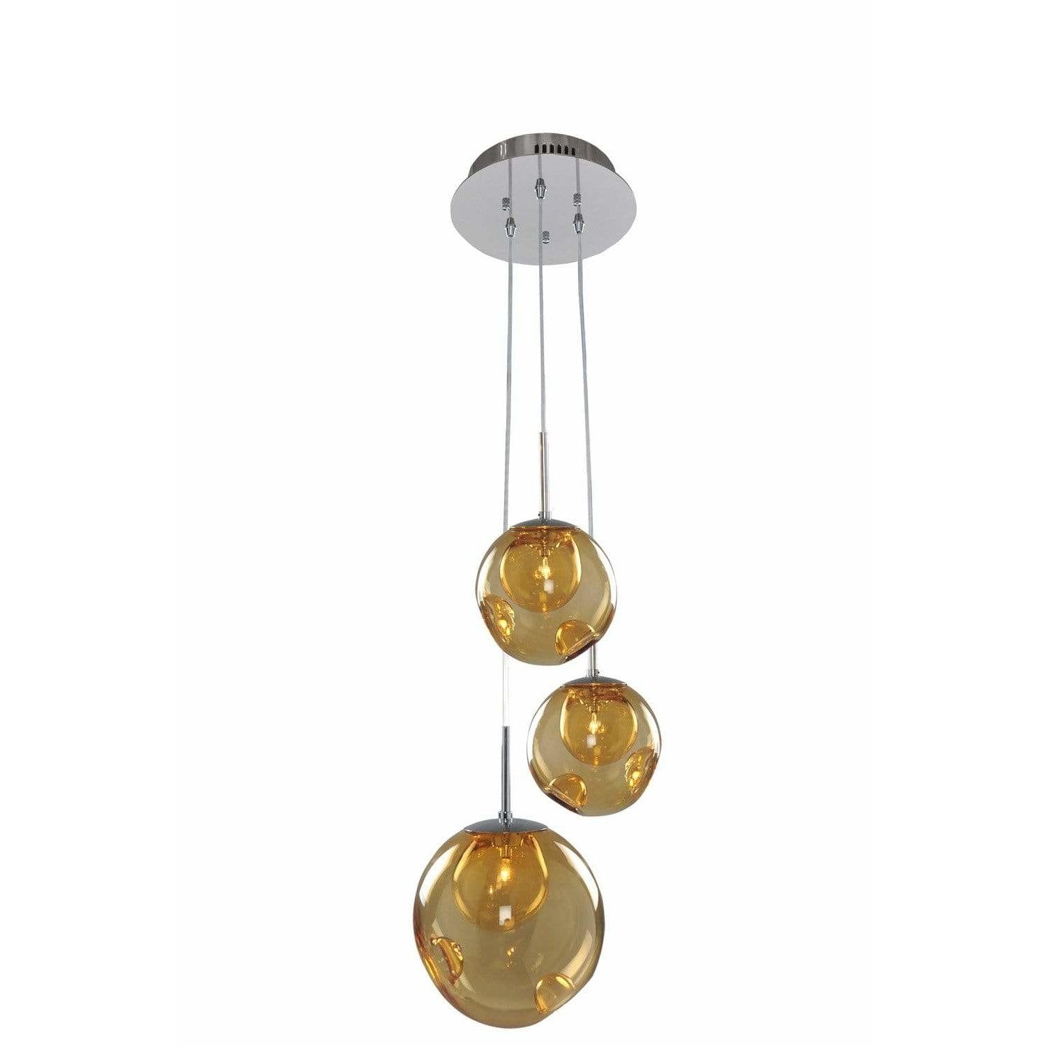 Kalco Lighting Pendants Chrome / Faux Calcite Standard Amber Glass Meteor 3 Light Pendant By Kalco Lighting 309540