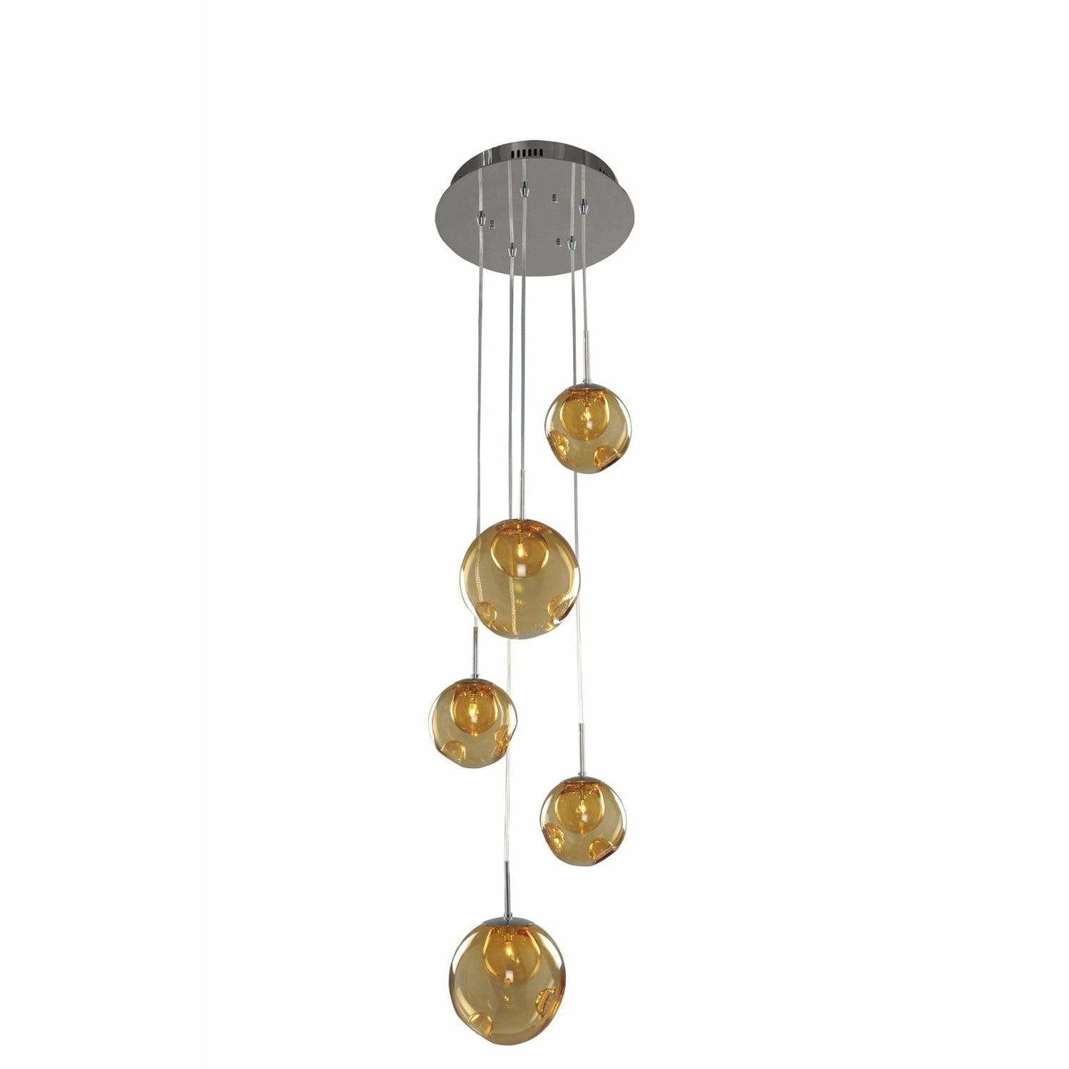 Kalco Lighting Pendants Chrome / Faux Calcite Standard Amber Glass Meteor 5 Light Pendant By Kalco Lighting 309541