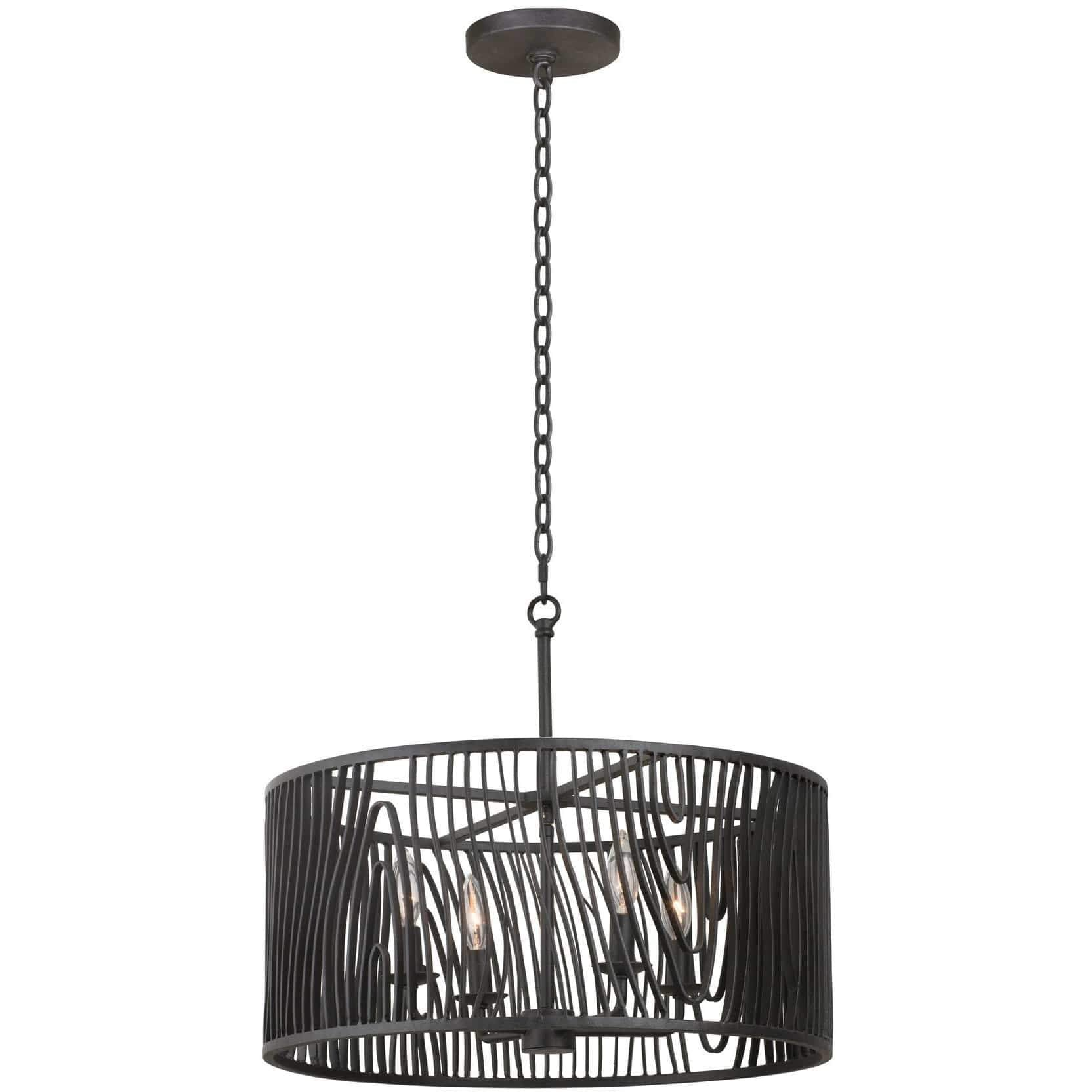 Kalco Lighting Dual Mounts Black Iron Morre 21 Inch Convertible Pendant / Semi Flush By Kalco Lighting 507541