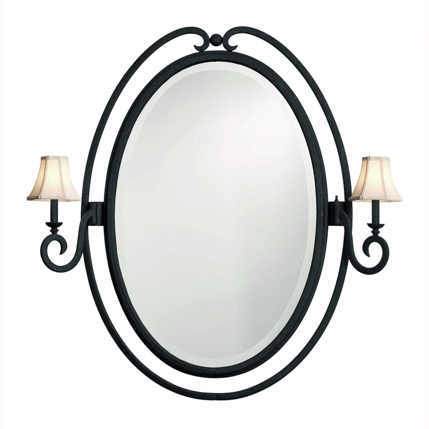 Kalco Lighting Mirrors Black / Small Silk Bell Shade Santa Barbara 2 Light Oval Mirror By Kalco Lighting 810