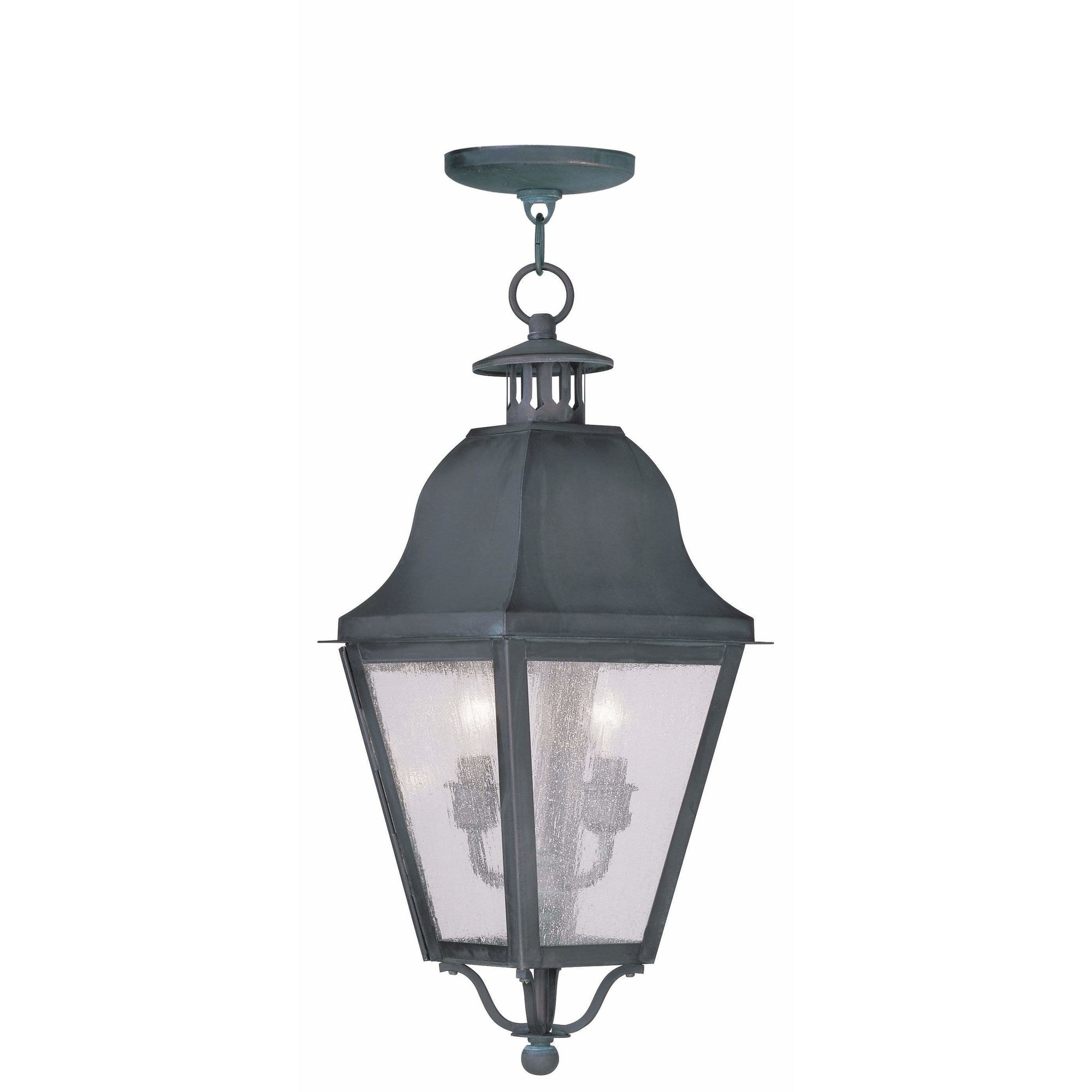 Livex Lighting Outdoor Pendants Lanterns Charcoal / Seeded Glass Amwell Charcoal Outdoor Pendant Lantern  By Livex Lighting 2546-61