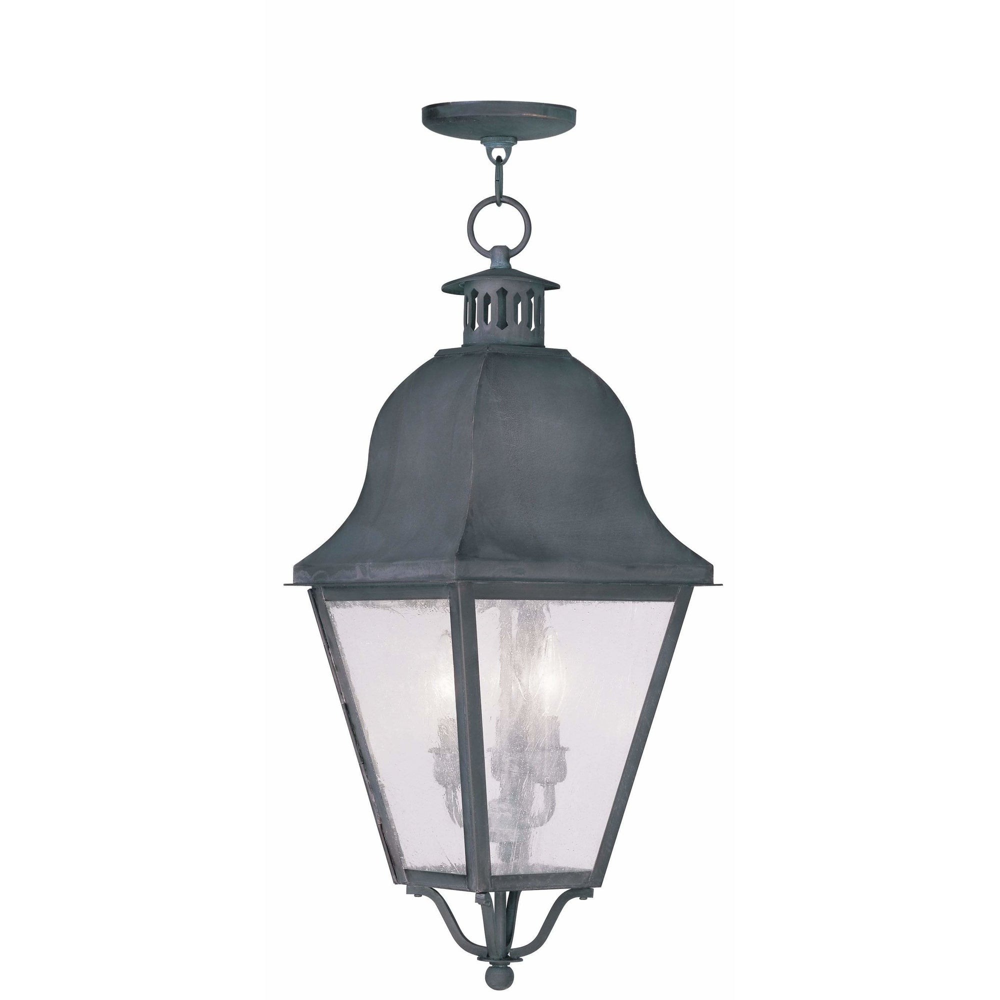 Livex Lighting Outdoor Pendants Lanterns Charcoal / Seeded Glass Amwell Charcoal Outdoor Pendant Lantern  By Livex Lighting 2557-61