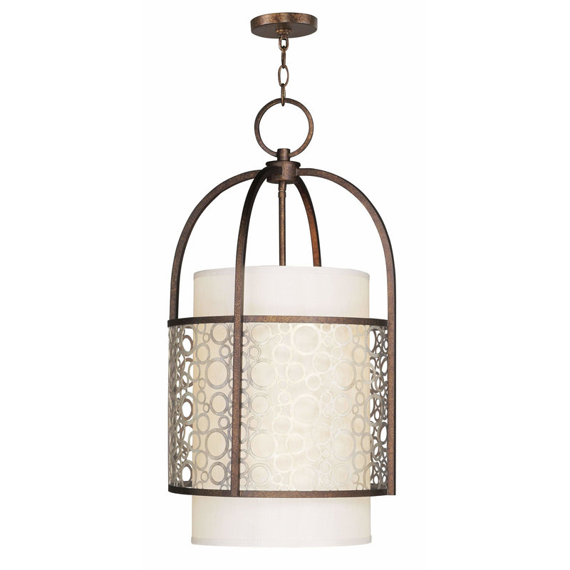 Livex Lighting Hall/Foyers Palacial Bronze with Gilded Accents / Silk Champagne Hardback Shade Avalon Palacial Bronze with Gilded Accents Hall/Foyer By Livex Lighting 8677-64