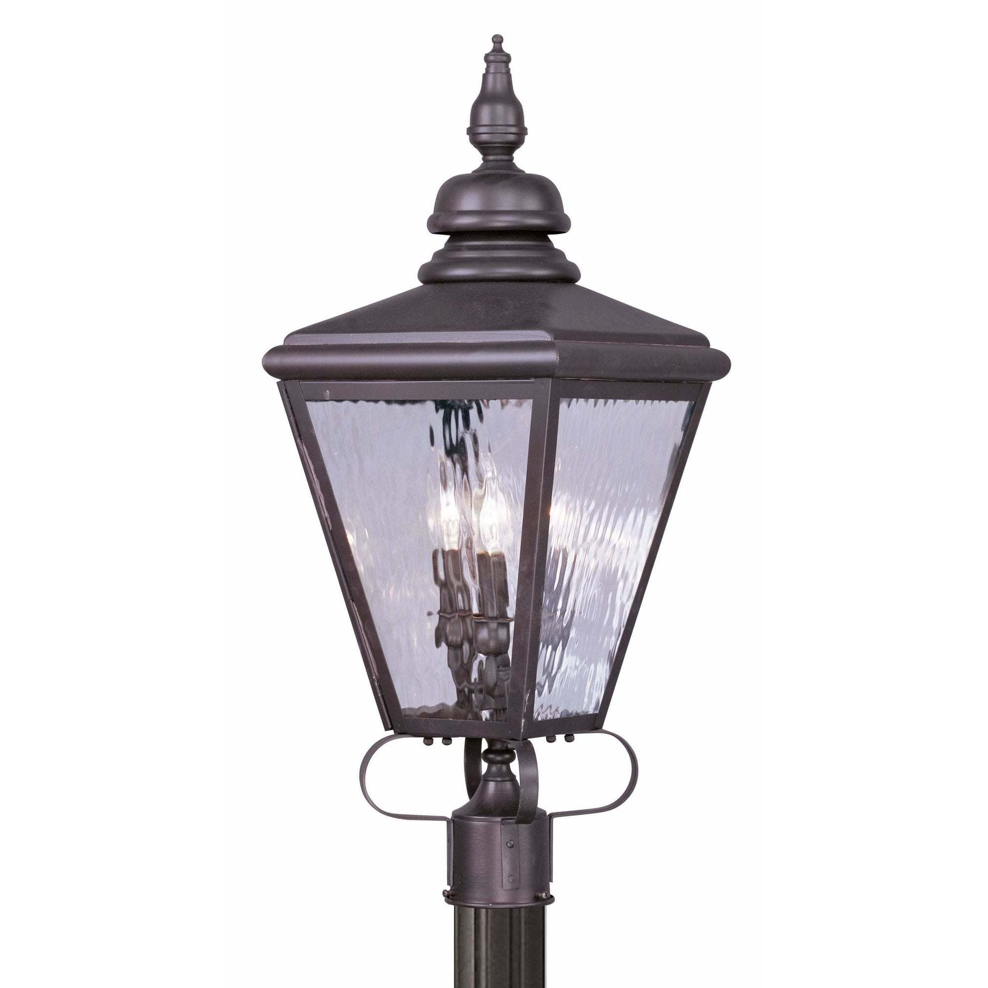 Livex Lighting Outdoor Post Top Lanterns Bronze / Clear Water Glass Cambridge Bronze Outdoor Post Top Lantern By Livex Lighting 2034-07
