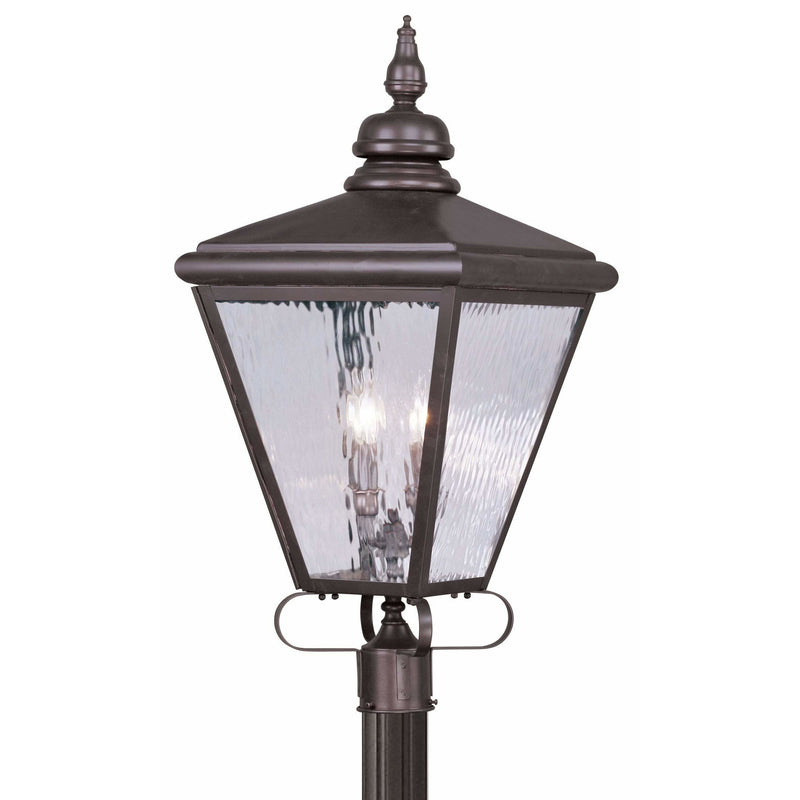 Livex Lighting Outdoor Post Top Lanterns Bronze / Clear Water Glass Cambridge Bronze Outdoor Post Top Lantern By Livex Lighting 2038-07