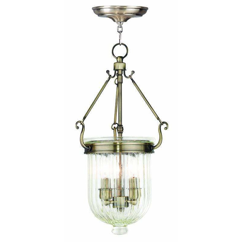 Livex Lighting Pendants Antique Brass / Hand Crafted Clear Melon Glass Coventry Antique Brass Pendant By Livex Lighting 50515-01