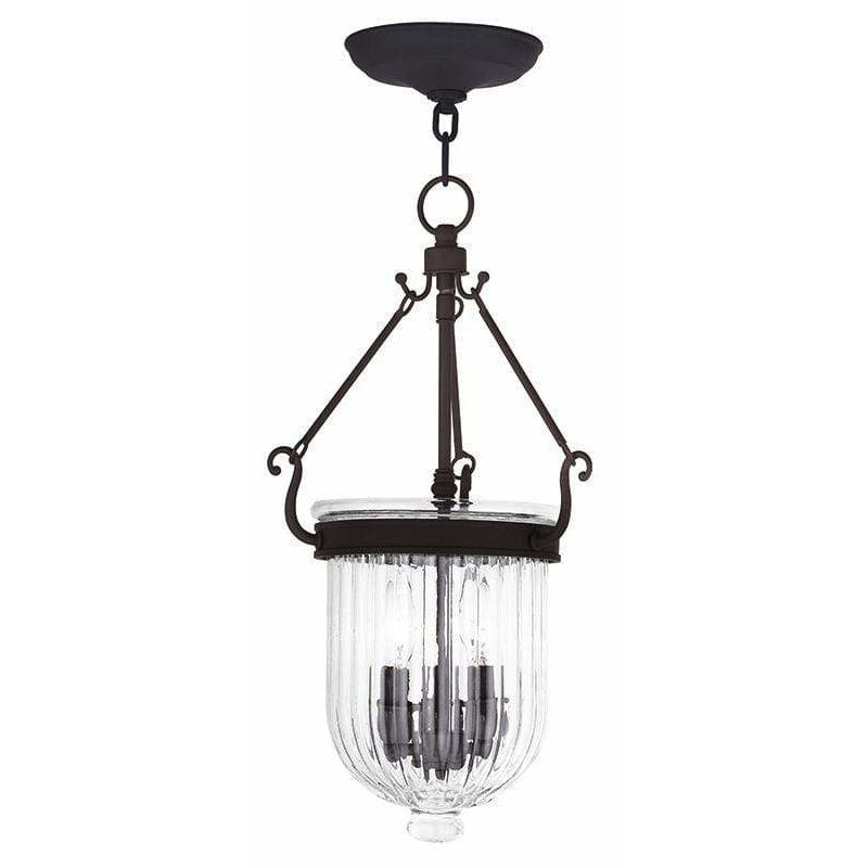 Livex Lighting Pendants Bronze / Hand Crafted Clear Melon Glass Coventry Bronze Pendant By Livex Lighting 50515-07